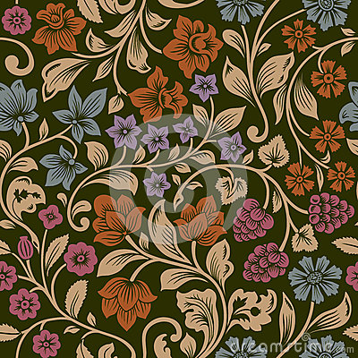 Vector seamless vintage floral pattern.