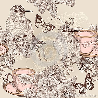 Free Vector Seamless Wallpaper Pattern In Floral Vintage Style Royalty Free Stock Photography - 34790307