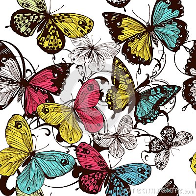Free Vector Seamless Wallpaper With Colorful Butterflies Stock Images - 38115974