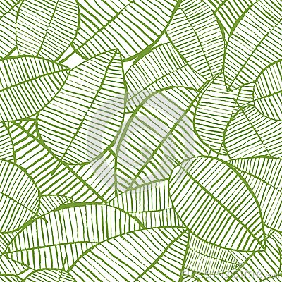 Vector seamless watercolor leaves pattern. Green and white spring background. Floral design for fashion textile print. Vector Illustration