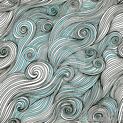 Free Vector Seamless Wave Hand-drawn Pattern, Waves Background (seaml Royalty Free Stock Photography - 50384227