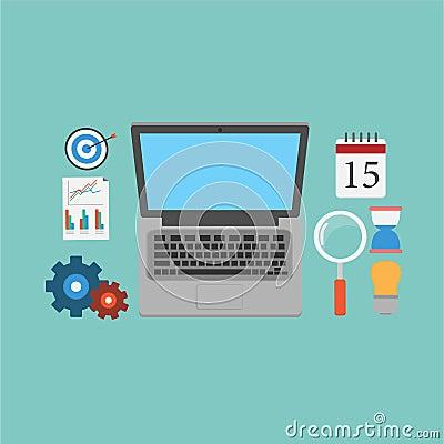 Vector of SEO Marketing Elements.