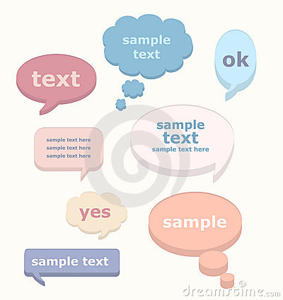 Vector set of 3D speech bubbles