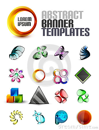 Vector set of abstract banner shapes