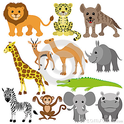 Free Vector Set. African Animals. Stock Image - 39721071