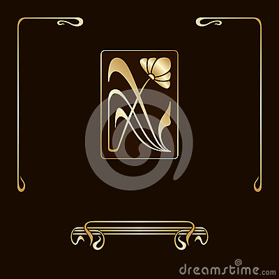 vector set of nouveau decorative elements stock vector image 47307825