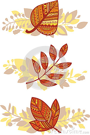 Vector set of autumn leaves compositions