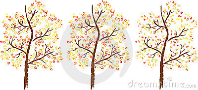 Vector set of autumn trees