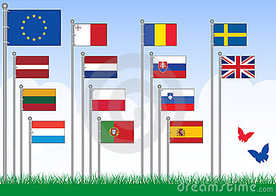 Vector set B of European Union flags.
