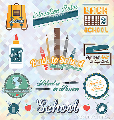 Free Vector Set: Back To School Labels And Icons Stock Image - 34688501