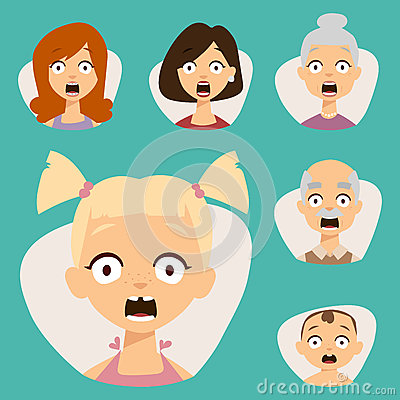 Vector set beautiful emoticons face of people fear shock surprise avatars characters illustration Vector Illustration