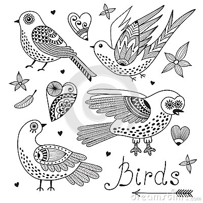 Free Vector Set Birds And Hearts. Royalty Free Stock Photo - 40395065