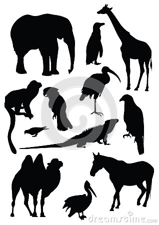 Vector set of black silhouettes of animals