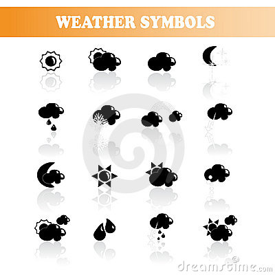 Vector set of black weather symbols