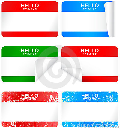 Vector set of blank adhesive name badges.