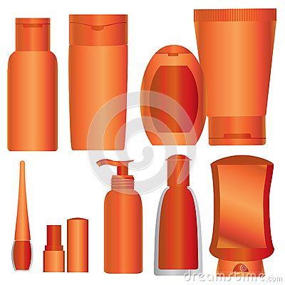 Vector Set of bright orange cosmetics packages