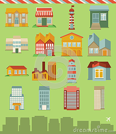 Vector set with buildings icons