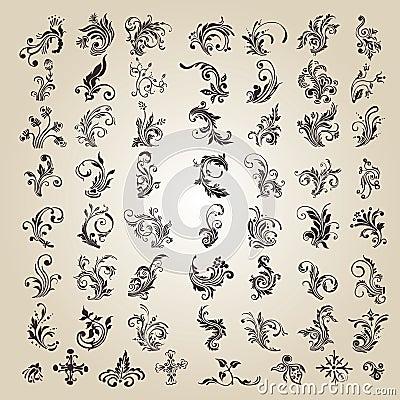 Vector set: caligraphic flower design