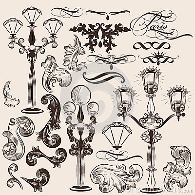 Vector set of calligraphic decorative elements and street lights