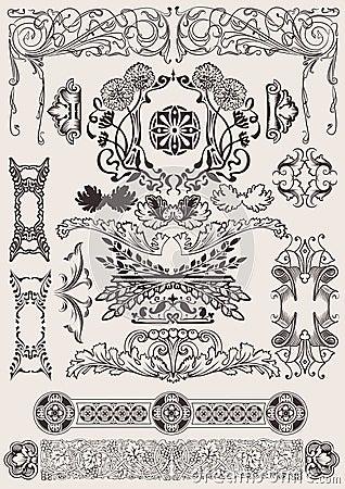 Vector set: calligraphic design elements