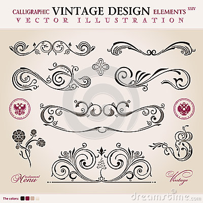 Vector set. Calligraphic design elements ornament