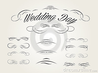 Vector set of calligraphic design elements for wed