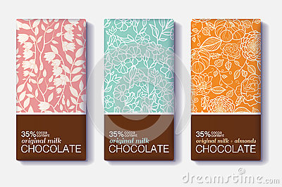 Vector Set Of Chocolate Bar Package Designs With Modern Floral – Editable Leaf Template