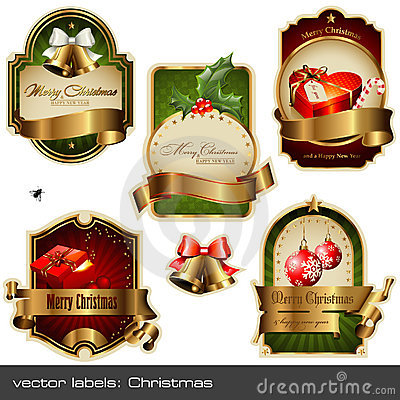 Free Vector Set: Christmas Labels Royalty Free Stock Images - 12058859