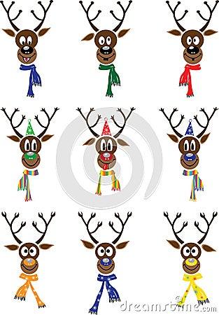 Vector Set Christmas with reindeer