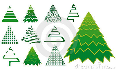 Vector set of christmas tree icons