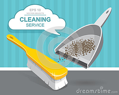 Vector Set of cleaning service elements. Cleaner. Cleaning supplies. Housework tools, House cleaning. Garbage, dustpan and brush Vector Illustration
