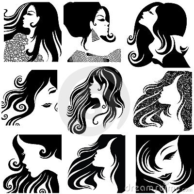 Vector set of closeup portraits of beautiful woman