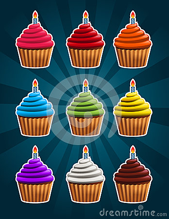 Vector Birthday Cupcakes