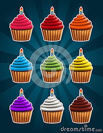 Vector Birthday Cupcakes