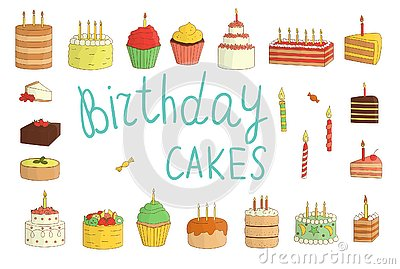 Vector set of colorful cakes with candles, balloons, presents Stock Photo