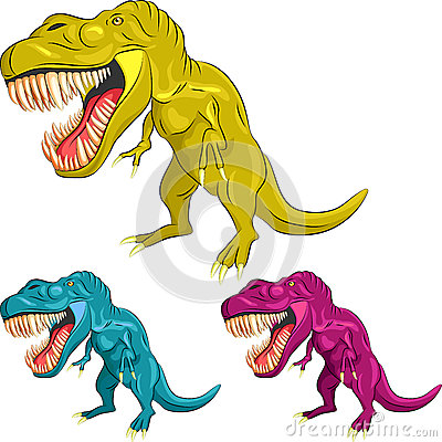 vector Set of colorful dinosaur tyrannosaurs
