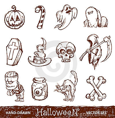 Vector set of cute hand-drawn halloween elements