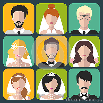 Vector set of the different brides and grooms app icons in flat style. Vector Illustration