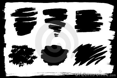Vector set of different ink strokes