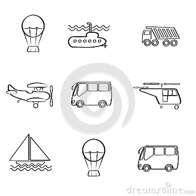 Vector set of different modes of transport logo gr