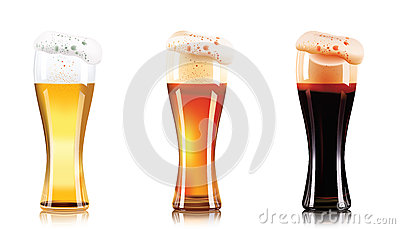 Vector Set of different types of beer in glasses isolated on white background. Craft beer, dark beer and light beer. Vector Illustration