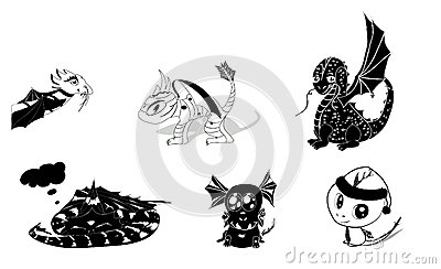 Vector set of dragons silhouettes