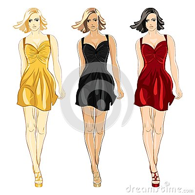 Vector Set of Dress black, red and gold colors