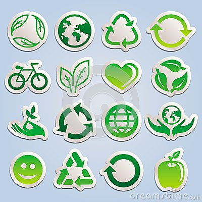 Vector set with ecology stickers