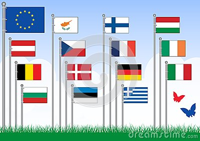 Vector set A of European Union flags.