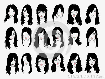 Vector set of female hair styles