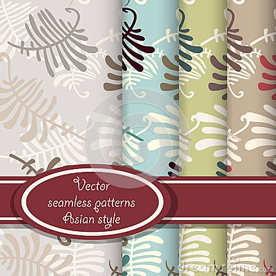 Vector set of fern seamless patterns