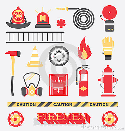 Free Vector Set: Firefighter Flat Icons And Symbols Stock Photography - 38630692