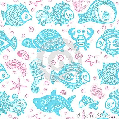 Vector set of fish and shells