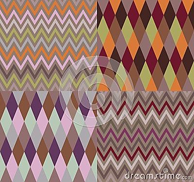 Vector set of four argyle and chevron patterns